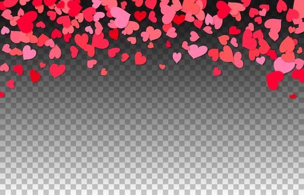 Fondo de corazones de confeti rojo sobre transparente