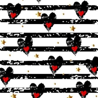 Fondo con corazones y estrellas doradas sobre un fondo rayado. ilustración vectorial