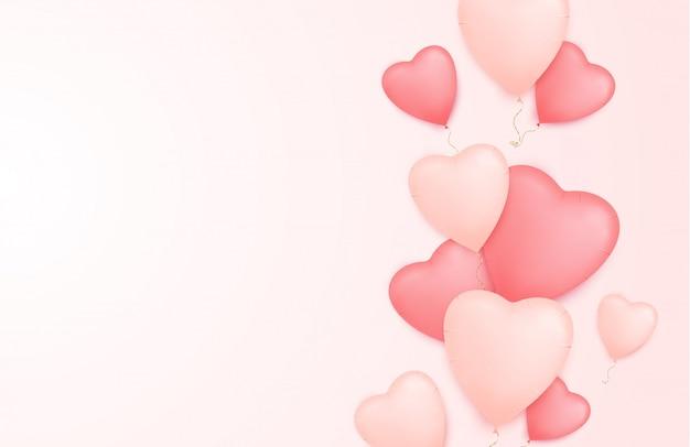 Fondo de corazones con globos en forma de corazón.