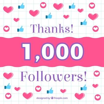 Fondo de corazones y likes de 1k de seguidores