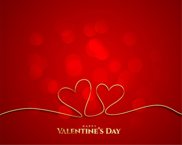 Fondo de corazones de línea dorada del día de san valentín
