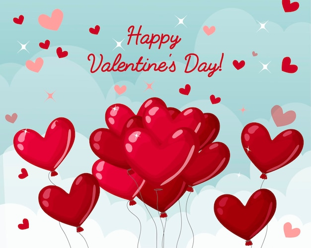 Fondo con corazones y nubes. bolas en forma de corazón. día de san valentín