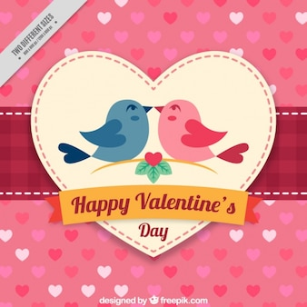 Fondo con corazones y pájaros enamorados para el día san valentín
