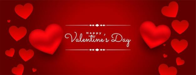 Fondo de corazones rojos del día de san valentín 3d