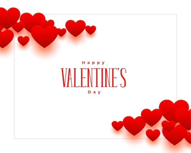 Fondo de corazones rojos hermoso feliz día de san valentín