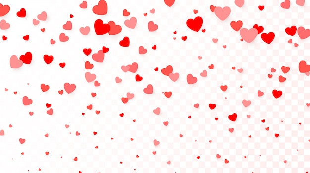 Fondo con corazones rojos voladores. fondo de corazón para cartel, invitación de boda, día de la madre, día de san valentín, día de la mujer, tarjeta. ilustración