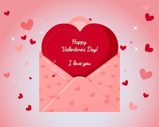 Fondo con corazones. sobre y deseo de san valentín. día de san valentín