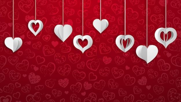 Fondo con corazones de volumen de papel colgante