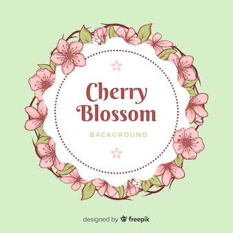 Fondo corona flor de cerezo dibujado a mano