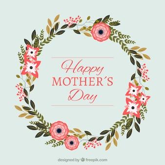 Fondo de corona floral decorativa del día de la madre
