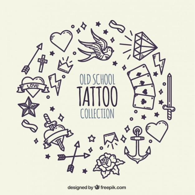 Fondo de corona hecha de tatuajes dibujados a mano