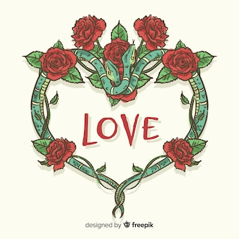 Fondo corona serpientes y rosas dibujada a mano
