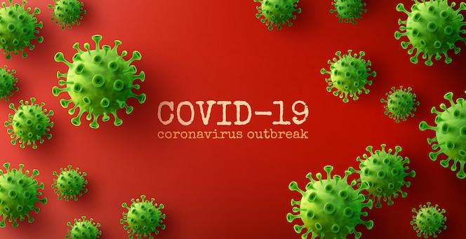 Fondo de coronavirus con células de enfermedad verde
