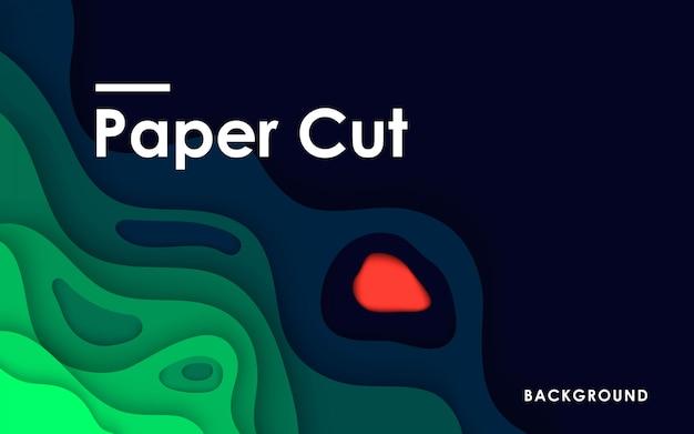 Fondo de corte de papel 3d tosca verde abstracto