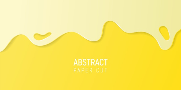 Fondo de corte de papel amarillo abstracto. banner con limo amarillo papel cortado ondas.