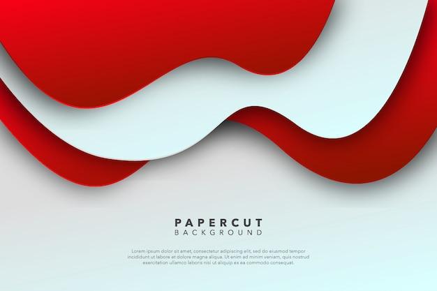Fondo de corte de papel blanco rojo abstracto
