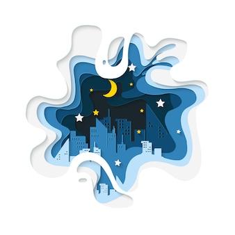 Fondo de corte de papel de ciudad de noche