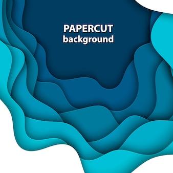Fondo con corte de papel de color azul profundo