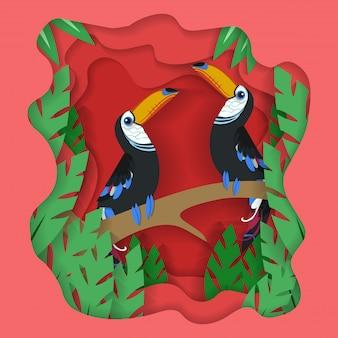 Fondo de corte de papel de ilustración de aves