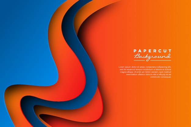 Fondo de corte de papel naranja azul abstracto
