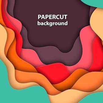 Fondo con corte de papel naranja, rojo y verde