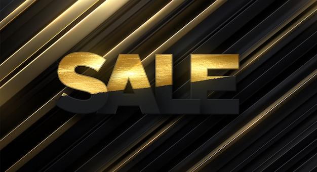 Fondo de corte de papel negro. decoración abstracta de papercut con capas o cintas con brillos dorados. telón de fondo 3d venta de banner.