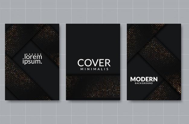 Fondo de corte de papel negro. decoración de corte de papel en capas realista abstracto con textura con patrón de medios tonos dorados