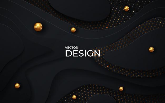 Fondo de corte de papel negro. decoración de corte de papel realista abstracto con textura con capas onduladas y efecto de semitono dorado.