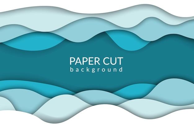 Fondo de corte de papel ola de río azul papercut diseño de moda olas del océano de origami