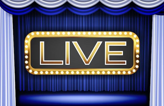 Fondo de cortina azul y señal de neón de palabra en vivo