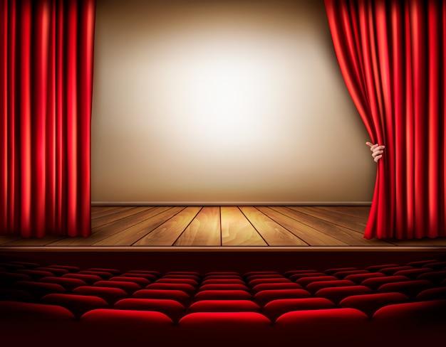Fondo con cortina de terciopelo rojo y mano. ilustración