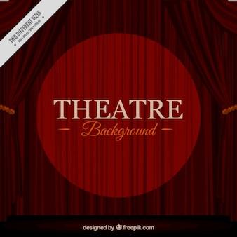 Fondo de cortinas de teatro con círculo brillante
