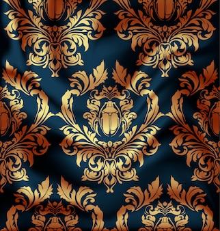 Fondo de cortinas textiles, ilustración damasco