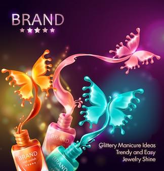 Fondo cosmético con mariposas de esmalte de uñas
