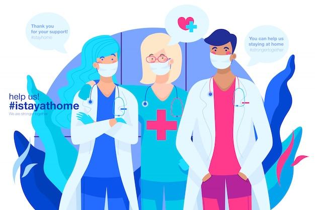 Fondo covid-19 con equipo médico agradecido