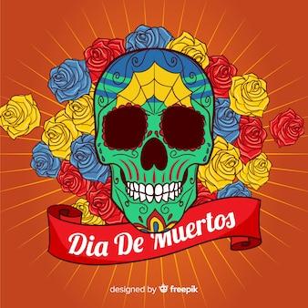 Fondo de cráneo del día de muertos con rosas