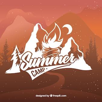 Fondo creativa de campamento de verano dibujado a mano
