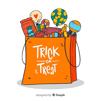 Fondo creativo de bolsa de golosinas de halloween