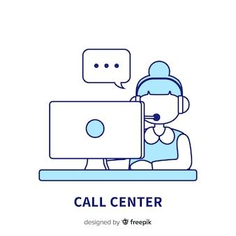 Fondo creativo de call center en diseño lineal