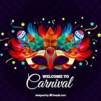 Fondo creativo de carnaval con máscara