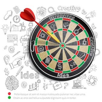Fondo creativo con dartboard