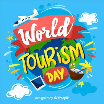 Fondo creativo de lettering del día mundial del turismo