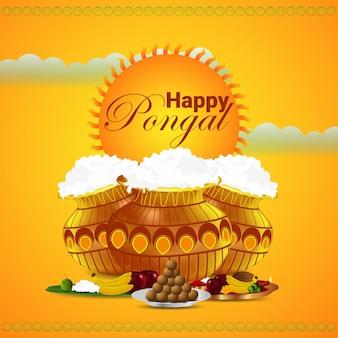 Fondo creativo para el feliz festival pongal de tamil nadu, sur de la india