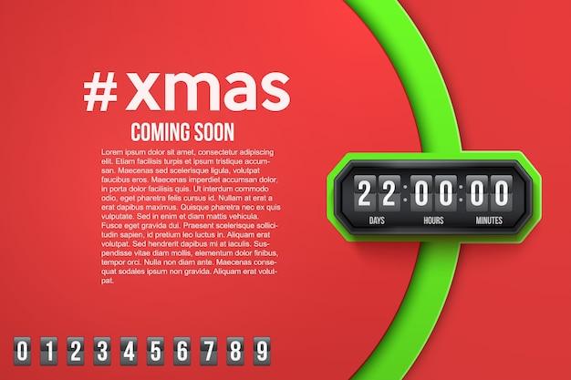Fondo creativo feliz navidad próximamente y temporizador de cuenta atrás con muestras de dígitos.
