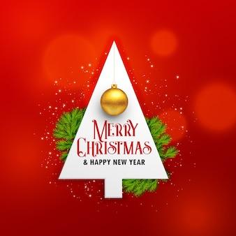 Fondo creativo festival de navidad con árbol y bola colgante