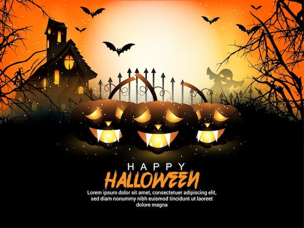 Fondo creativo de halloween con calabaza de terror y ilustración de casa de murciélago y terror.
