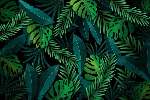 Fondo creativo de hojas tropicales