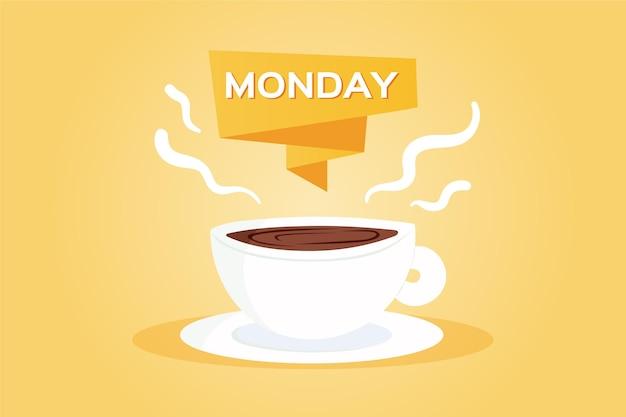 Fondo creativo de hola lunes con taza de café