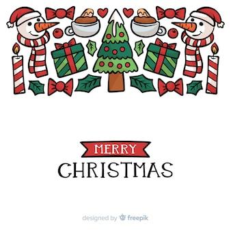 Fondo creativo de navidad dibujado a mano