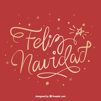 Fondo creativo rojo de lettering de feliz navidad